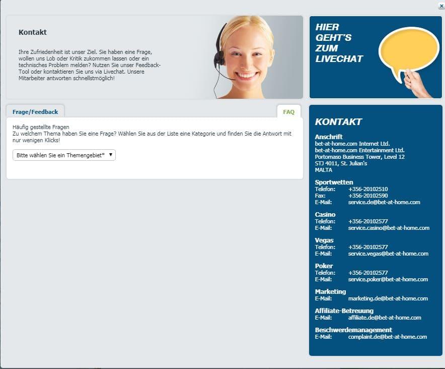 Bet-At Home Kundenservice Kontakt Sportwetttentest ueber unter sportwetten