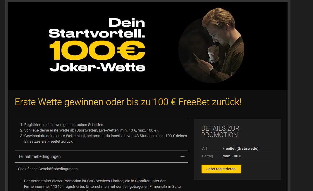 Bwin Jokerwette, Wettbonus Neukundenbonus 100 € Erfahrungsbericht Test
