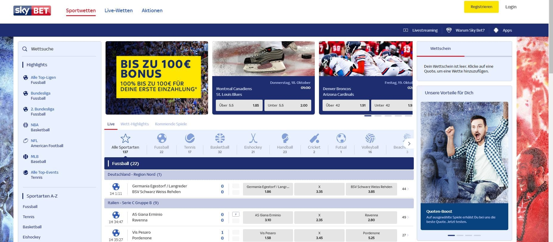 SkyBet Startseite Sky Bet Erfahrungen Sportwetttentest ueber unter sportwetten